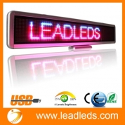 "China Universal Useful 22""x4.3"" Rechargeable Programmable Led Moving Message Sign Board with Red/ Blue/ Pink Tri-color, Including Pre-programmed 32 Symbols and Icons [Indoor Use] factory"
