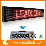 China Leadleds 40x6.3 Inches Remote LED Scrolling Display Board for Business - Red Message factory
