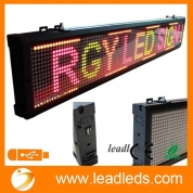 China Leadleds 40x6.3 Inches USB Programmable Scrolling LED Sign Store Display Moving Message Board 3 Color Light (Red, Green, Amber) for Indoor factory