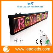 China Leadleds 40x6.3 Inches Wifi Scrolling LED Sign Display Board for Business, APP Programmable Message by Smartphone and Tablet, RGY Tri-Color factory