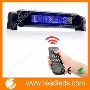 China Leadleds Dc12v Led Car Rear Window Sign Board Scrolling Blue Message Display Board Led Banner with Remote Controller and Cigar Lighter - Fast Programmable factory