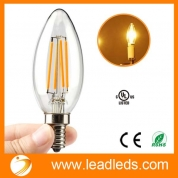 Кита Leadleds E12 4 Watt LED Filament Candelabra Light Bulbs, 40W Incandescent Replacement, Warm White 2700K Chandelier Torpedo Tip 110V AC завод
