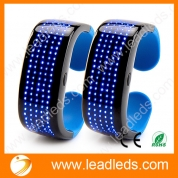 China Leadleds Battery Powered Scrolling LED Bracelet 9 Patterns Flashing Display Glow in Party Safety Running Gear Use, 2-Pack factory